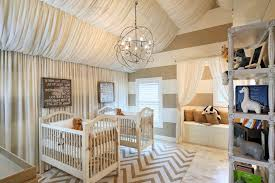 twin baby room nursery shabby chic style with wooden crib