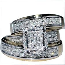 cheap his and hers wedding ring sets cheap discount wedding ring review his wedding rings set trio