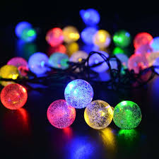 solar outdoor string lights multi color crystal ball solar powered