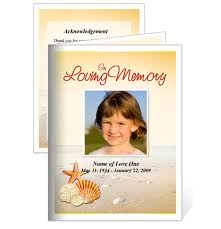 funeral cards memorial cards seashore small funeral card template