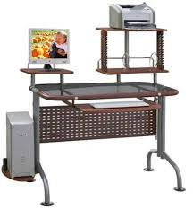 Innovex Leda Dp077g99 Brown Glass Computer Desk With Printer Shelf
