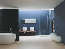 bathroom black and blue toned bathroom with solid floor and white