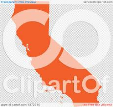 United States California Map by Clipart Of An Orange Silhouetted Map Shape Of The State Of