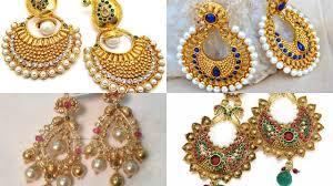 beautiful gold earrings gold pearl chandbali earrings designs beautiful gold