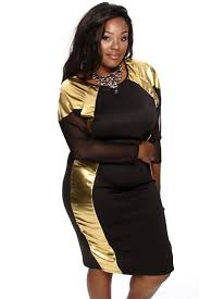 black gold metallic mesh party dress plus size