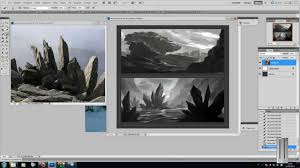 concept art painting 3 environment sketches in photoshop with