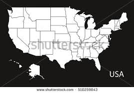 map of us federal states usa map federal states black white stock vector 510259843
