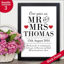 one year wedding anniversary gifts for 1st paper wedding anniversary gift personalised one year as mr