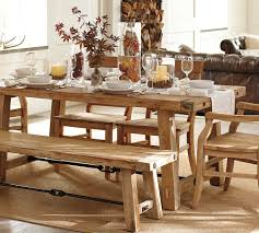 Farm Style Dining Room Sets - unique bold farmhouse style dining table with single bench and six