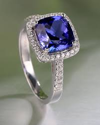 Halo Cushion Engagement Rings 1 50 Carat Cushion Cut Blue Sapphire And Diamond Halo Engagement