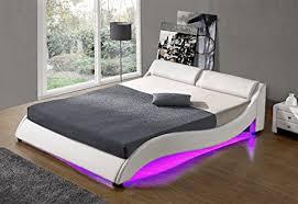 Led Bed Frame Luxury Curved Harmin White Upholstered Led Bed With Slatted Frame