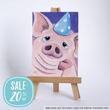 aceo cards for sale on sale original aceo whimsical farm animals party pig by