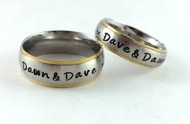personalized rings silver with gold trim couples personalized rings name it already
