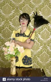 housewife nerd retro woman home chores wallpaper stock photo