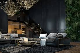 Black Living Room by 3 Living Spaces With Dark And Decadent Black Interiors