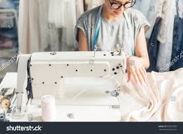 Home Fashion Design Jobs Young Woman Sewing Sewing Machine Studio Stock Photo 653518036