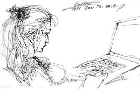 with laptop drawing by ylli haruni