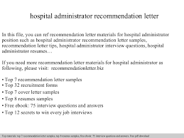 administrative assistant responsibilities resume hospital administrator recommendation letter