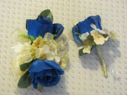 royal blue boutonniere royal blue open silk w yellow hydrangea boutonniere