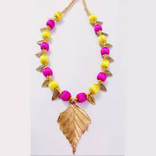 yellow necklace set images Silk thread antique leaf necklace set yellow with pink festivya jpg