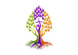 christian logo root icon holy spirit tree family church