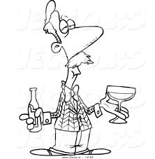 vector cartoon male wine taster bottle coloring