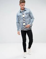 light blue denim jacket mens bershka bershka regular fit denim jacket in light wash