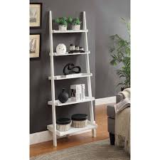 Narrow Ladder Bookcase by Convenience Concepts French Country Bookshelf Ladder White