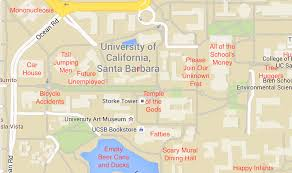 University Of San Diego Campus Map by A Judgmental Map Of Uc Santa Barbarathe Black Sheep