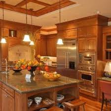Honey Oak Kitchen Cabinets Honey Oak Kitchen Cabinets With Marble Countertop And Silver