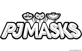 pj masks logo black and white clipart coloring pages printable