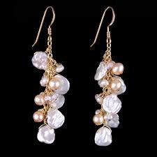 pearl dangle earrings ivory keshi pearl dangle earrings land and sea jewelry