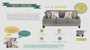 yvette casual steel gray fabric cushion back sofa living rooms
