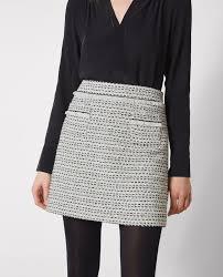 tweed skirt tweed skirt white black carlage comptoir des cotonniers
