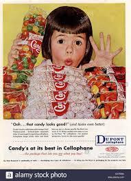 Magazine Usa 1950s Usa Du Pont Cellophane Magazine Advert Stock Photo Royalty