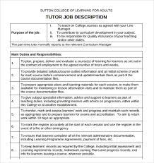 Free Sample Resume Format by Sample Tutor Resume Template 7 Free Sample Examples Formats