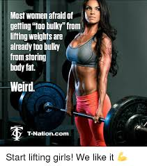 Woman Lifting Weights Meme - most women afraid of getting too bulky from lifting weights are