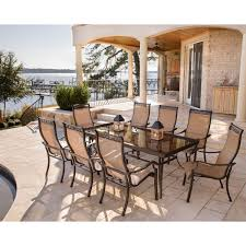 monaco 9 piece dining set with eight stationary dining chairs and home outdoor living outdoor dining sets monaco monaco 9 piece dining set with eight stationary dining chairs and an extra long 42 in x 84 in