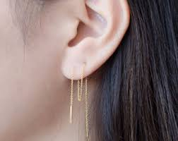 threaded earrings threader earrings etsy