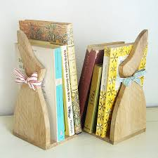 bunny bookends pair of oak bunny bookends by macey notonthehighstreet