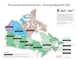 maps of canada showing canada council funding canada council
