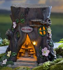 Solar Garden Tree Lights by Solar Welcome House Stump Fairy Gardens Plow U0026 Hearth