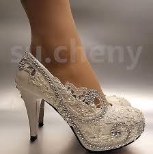 wedding shoes size 11 3 4 white light ivory lace wedding shoes bridal heels