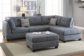 Sectional Sofa With Ottoman Grey Polyfiber Reversible Chaise Sectional Sofa Ottoman