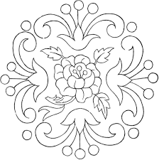 printable vintage floral style embroidery pattern coloring pages