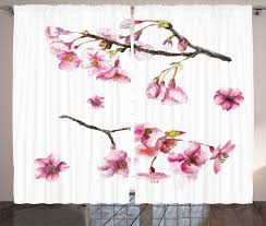 Flower Home Decoration by Floral Curtains 2 Panels Set Watercolor Art Flower Home Decor Ebay