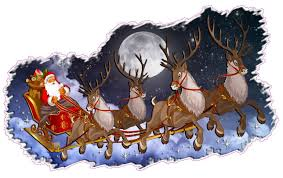 santa and reindeer christmas and wall décor decal santa claus with sleigh and