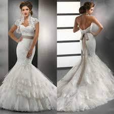 ivory lace tulle with bolero jacket wedding dress mermaid with