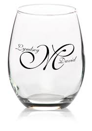 wedding favor glasses custom stemless wine glasses personalized wine glasses