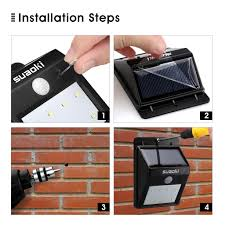 8 led solar power sensor wall light security motion weatherproof